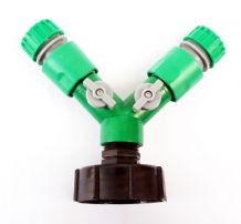"IBC Aapter toTWIN 1/2"" (13mm) Snap On Hose Fitting with ON/OFF Taps. C/w 2 x Female Connectors"